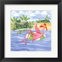 Framed Martini Float Flamingo