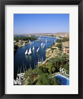 Framed Sailboats In A River, Nile River, Aswan, Egypt Vertical Landscape