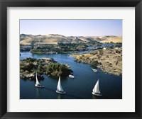 Framed Sailboats In A River, Nile River, Aswan, Egypt Landscape