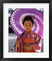Framed Portrait of a girl holding a parasol, Shichi Go San, Japan
