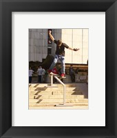 Framed Skateboarder On Stairs