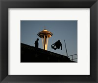 Framed Skateboarder Aloft and Space Needle
