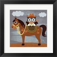 Cowboy Owl on Horse Framed Print