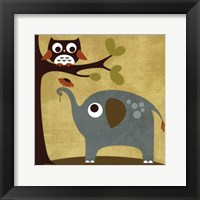 Owl and Elephant Framed Print