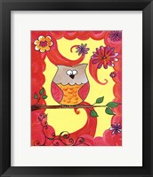 Framed Owl In Pink Swirl