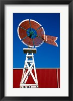 Framed Red Windmill in Texas