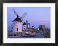 Framed Windmills, La Mancha, Consuegra, Castilla-La Mancha, Spain In Blue Light