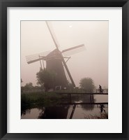 Framed Windmill and Cyclist, Zaanse Schans, Netherlands black and white