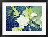 Framed Close-up of a world map - blue and green