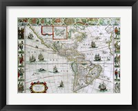 Framed Map of North and South America, Joan Bleau, 1630