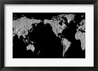 Framed Close-up of a world map - black