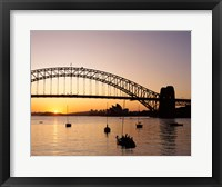 Framed Sunrise over a bridge, Sydney Harbor Bridge, Sydney, Australia