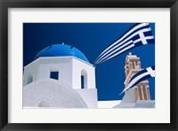 Framed Santorini, Oia , Cyclades Islands, Greece With Flag