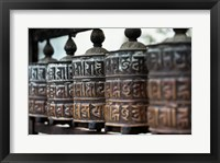 Framed Close-up of prayer wheels, Kathmandu, Nepal