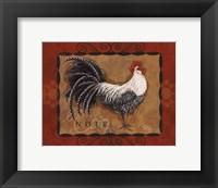 Rooster Noir Framed Print
