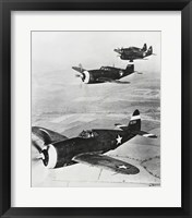 Framed Three fighter planes in flight, P-47 Thunderbolt