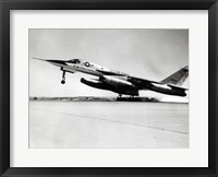 Framed Side profile of a bomber plane taking off, B-58 Hustler