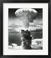 Framed Mushroom cloud formed by atomic bomb explosion, Nagasaki, Japan, August 9, 1945