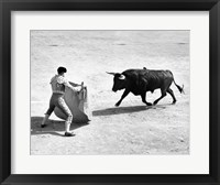 Framed High angle view of a bullfighter with a bull in a bullring, Madrid, Spain