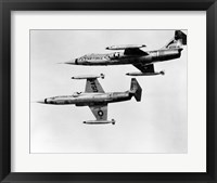 Framed Two fighter planes in flight, F-104C Starfighter, Tactical Air Command, 831st Air Division, George Air Force Base