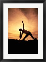 Framed Silhouette of Yoga Pose Extended Triangle