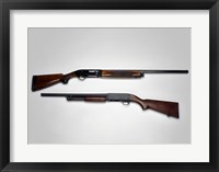 Framed Close-up of a Beretta 20-gauge and an Ithaca 12-gauge shotgun