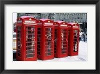 Framed Telephone booths in a row, London, England