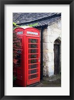 Framed Telephone booth outside a house, Castle Combe, Cotswold, Wiltshire, England