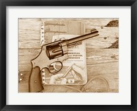 Framed 1917 Smith and Wesson with Speer Reloading Handbook