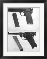Framed 1905 Colt 45 and a Luger 45