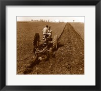 Framed USA, Pennsylvania, Farmer on Tractor Plowing Field