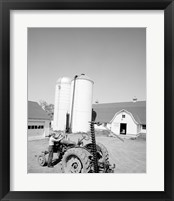 Framed USA, Farmer Working on Tractor, Agricultural Buildings in the Background