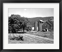 Framed Tractor Raking a Field, East Ryegate, Vermont, USA