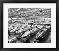 Framed Incomplete Bomber Planes on the Final Assembly Line in an Airplane Factory, Wichita, Kansas, USA