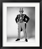 Framed Senior man in an Uncle Sam Costume Standing with Arms Akimbo