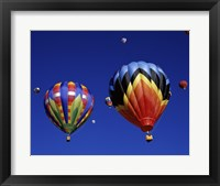 Framed Two Hot Air Balloons Flying Away Together