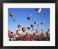 Framed Group of Hot Air Balloons Taking Off