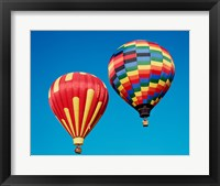 Framed 2 Rainbow Hot Air Balloons Floating Together