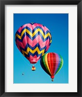 Framed Hot Pink and Navy Blue Air Balloon Floating in the Sky