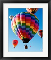 Framed Gorgeous Rainbow Hot Air Balloon
