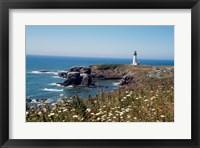 Framed Lighthouse on the coast, Yaquina Head Lighthouse, Oregon, USA