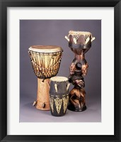 Framed West African Drums