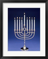 Framed Close-up of a menorah with a Star of David