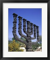 Framed Low angle view of a menorah, Knesset Menorah, Jerusalem, Israel