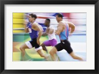 Framed Side profile of three men running on a track