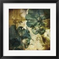Vintage Teal Blooms I Framed Print