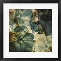 Framed Vintage Teal Blooms II