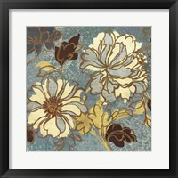 Framed Sophias Flowers I - Blue