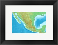 Framed Map of Mexico Demis