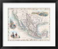 Framed 1851 Tallis Map of Mexico, Texas, and California